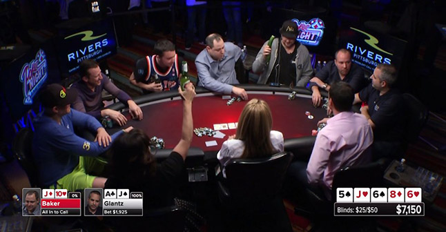 Jennifer Tilly raising her beer and everyone agreeing that Phil Hellmuth is a good sport