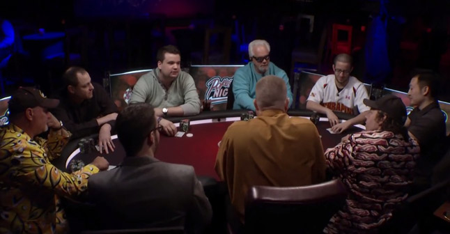 Testosterone levels abound at this all-male poker table